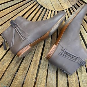 Joie Genesis Leather Fringe Ankle Booties Gray